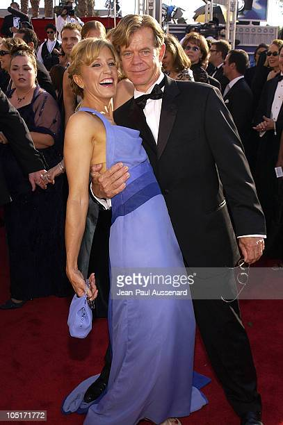 Felicity Huffman and William H Macy during The 55th Annual Primetime Emmy Awards Arrivals at The Shrine Theater in Los Angeles California United...