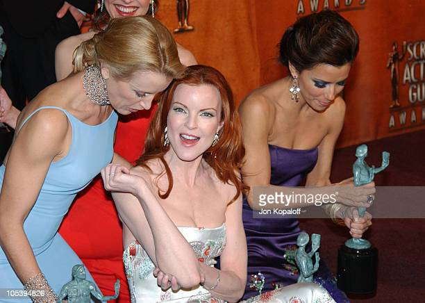 Felicity Huffman Marcia Cross and Eva Longoria during 2005 Screen Actors Guild Awards Press Room at The Shrine in Los Angeles California United States