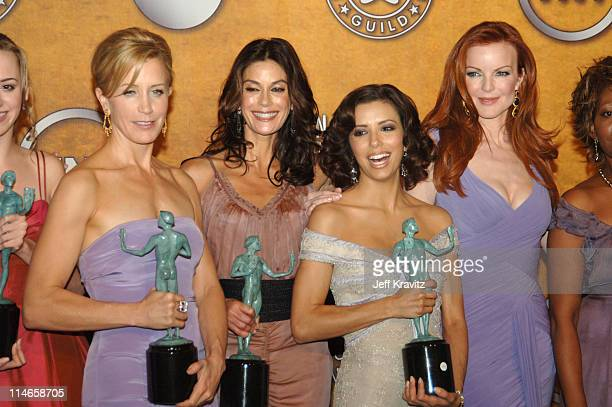 Felicity Huffman Teri Hatcher Eva Longoria and Marcia Cross of 'Desperate Housewives' winner of Outstanding Performance by an Ensemble in a Comedy...