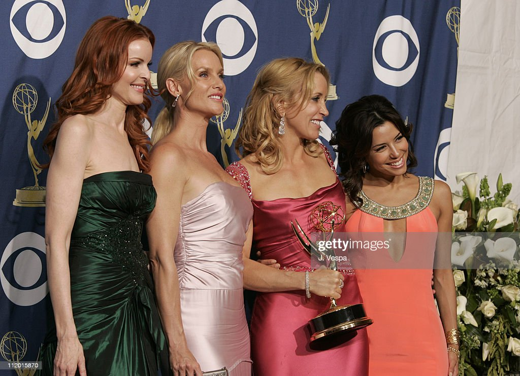 Felicity Huffman, winner Outstanding Lead Actress in a Comedy Series for 'Desperate Housewives' (2nd from right), with costars Marcia Cross, Nicollette Sheridan and Eva Longoria