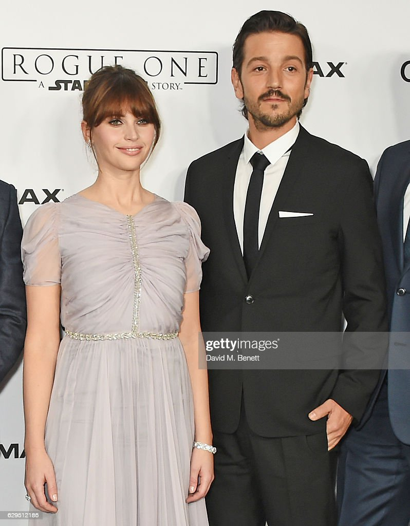 Felicity Jones (L) and Diego Luna attend a fan screening of 'Rogue One: A Star Wars Story' at the BFI IMAX on December 13, 2016 in London, England.