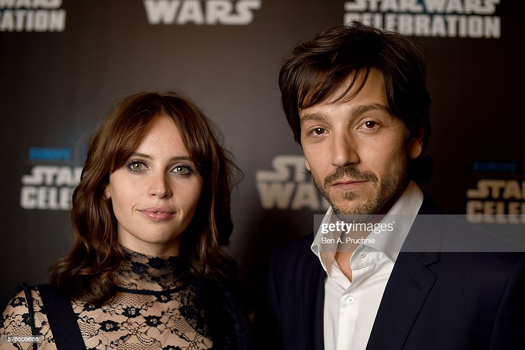 Felicity Jones and Diego Luna attend the Star Wars Celebration at ExCel on July 15, 2016 in London, England.