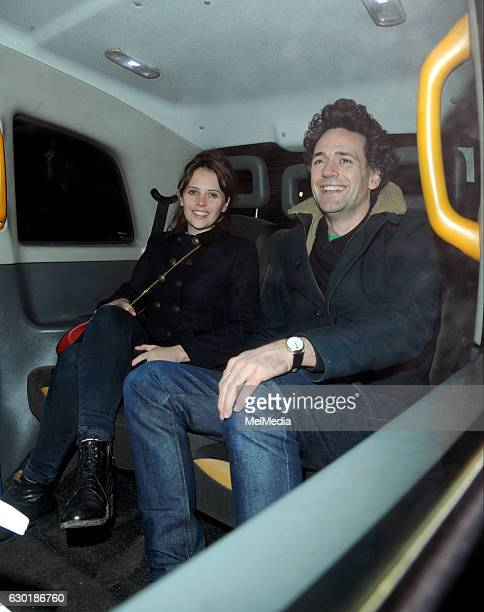 Felicity Jones and director boyfriend Charles Guard are seen leaving the Chiltern Firehouse on December 17 2016 in London England