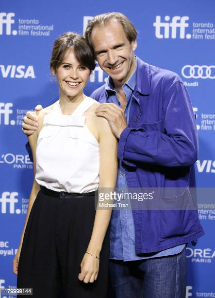 Felicity Jones and Ralph Fiennes attend 'The Invisible Woman' press conference during the 2013 Toronto International Film Festival held at TIFF Bell...
