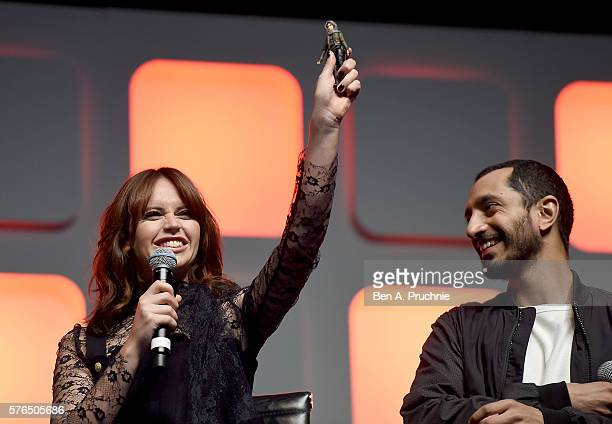Felicity Jones and Riz Ahmed on stage during the Rogue One Panel at the Star Wars Celebration 2016 at ExCel on July 15 2016 in London England
