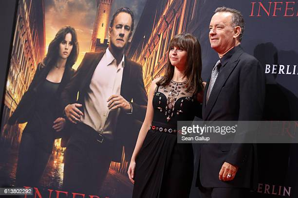Felicity Jones and Tom Hanks attend the German premiere of the film 'INFERNO' at Sony Centre on October 10 2016 in Berlin Germany