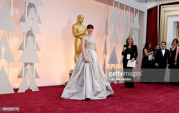 Felicity Jones arrives at the 87th Annual Academy Awards at Hollywood Highland Center on February 22 2015 in Los Angeles California