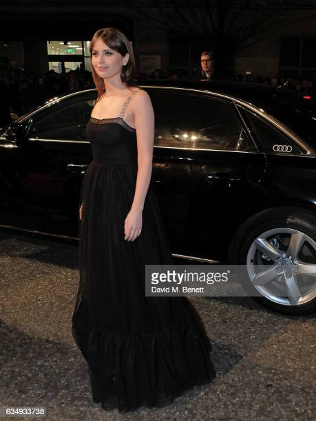 Felicity Jones arrives in an Audi at the EE BAFTA Film Awards at the at Royal Albert Hall on February 12 2017 in London England