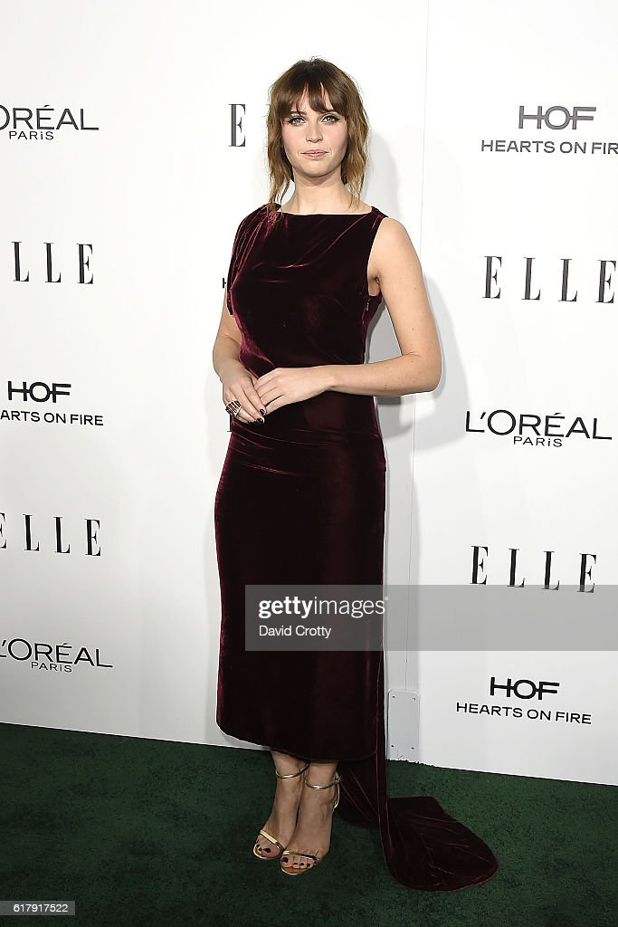 Felicity Jones attends the 23rd Annual ELLE Women In Hollywood Awards - Arrivals at The Four Seasons Hotel on October 24, 2016 in Beverly Hills, California.