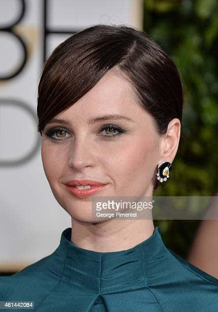 Felicity Jones attends the 72nd Annual Golden Globe Awards at The Beverly Hilton Hotel on January 11 2015 in Beverly Hills California