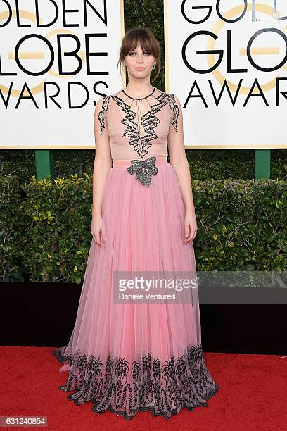 Felicity Jones attends the 74th Annual Golden Globe Awards at The Beverly Hilton Hotel on January 8 2017 in Beverly Hills California