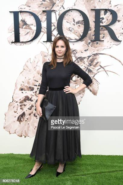Felicity Jones attends the Christian Dior Haute Couture Fall/Winter 20172018 show as part of Haute Couture Paris Fashion Week on July 3 2017 in Paris...