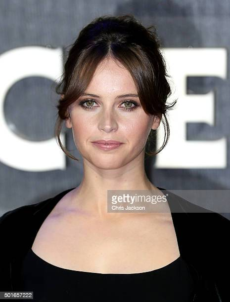 Felicity Jones attends the European Premiere of 'Star Wars The Force Awakens' at Leicester Square on December 16 2015 in London England