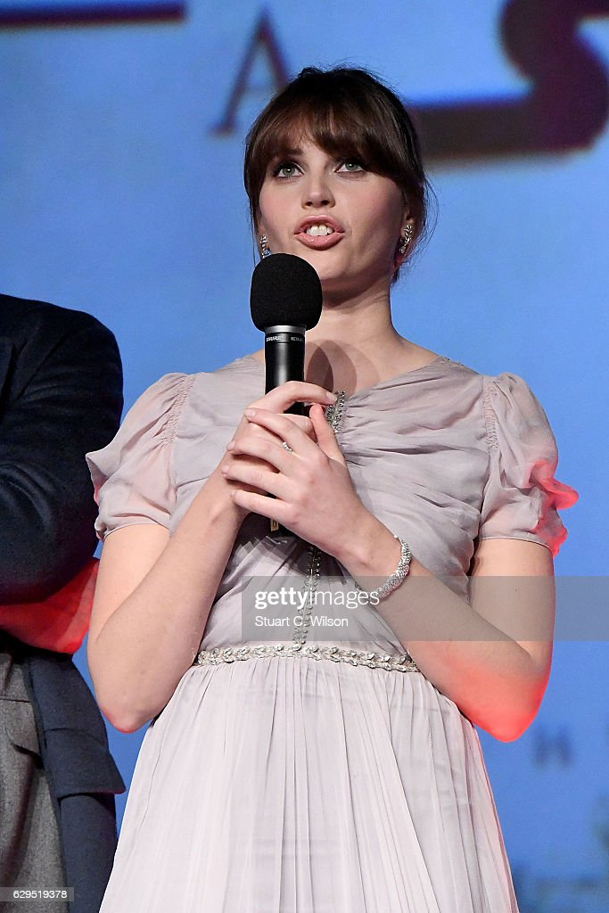 Felicity Jones attends the exclusive screening of Lucasfilm's highly anticipated, first-ever, standalone Star Wars adventure 'Rogue One: A Star Wars Story' at the BFI IMAX on December 13, 2016 in London, England.