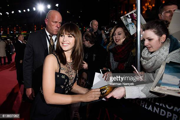 Felicity Jones attends the German premiere of the film 'INFERNO' at Sony Centre on October 10 2016 in Berlin Germany