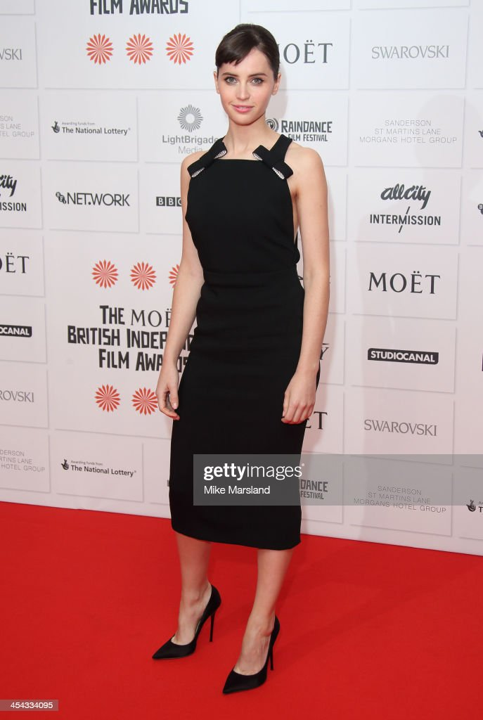 <a gi-track='captionPersonalityLinkClicked' href=/galleries/search?phrase=Felicity+Jones&family=editorial&specificpeople=5128418 ng-click='$event.stopPropagation()'>Felicity Jones</a> attends the Moet British Independent Film Awards at Old Billingsgate Market on December 8, 2013 in London, England.