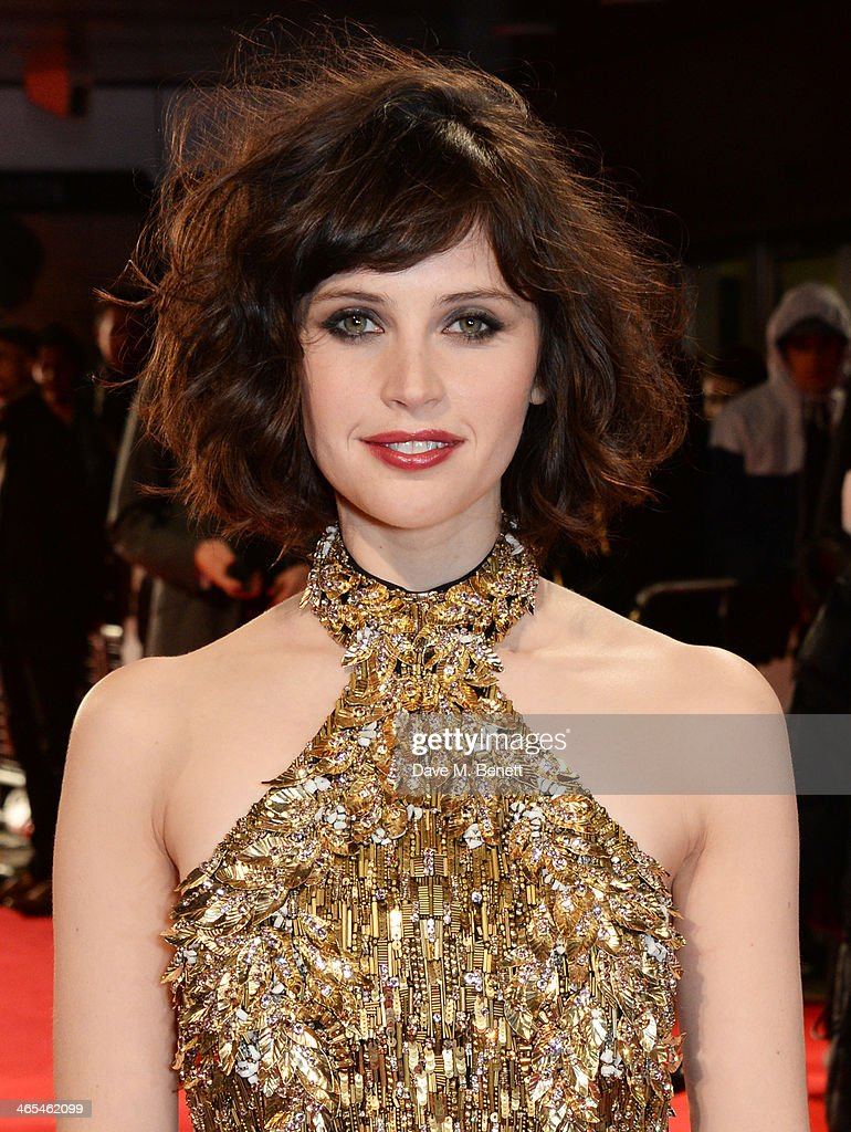 Felicity Jones attends the UK Premiere of 'The Invisible Woman' at the ODEON Kensington on January 27, 2014 in London, England.