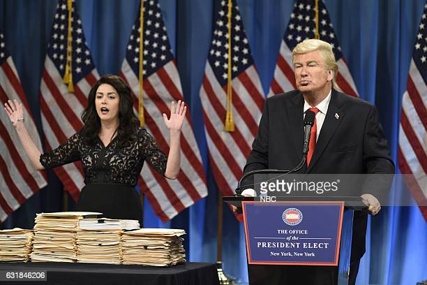 LIVE 'Felicity Jones' Episode 1715 Pictured Cecily Strong as a lawyer and Alec Baldwin as President Elect Donald J Trump during the Trump Press...