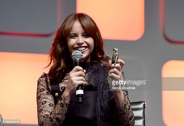 Felicity Jones on stage during the Rogue One Panel at the Star Wars Celebration 2016 at ExCel on July 15 2016 in London England