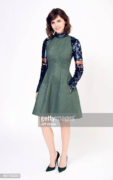 Felicity Jones poses for a portraits at the 87th Academy Awards Nominee Luncheon at the Beverly Hilton Hotel on February 2 2015 in Beverly Hills...