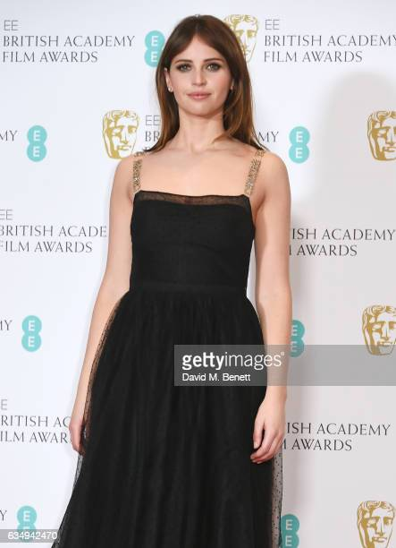 Felicity Jones poses in the winners room at the 70th EE British Academy Film Awards at Royal Albert Hall on February 12 2017 in London England