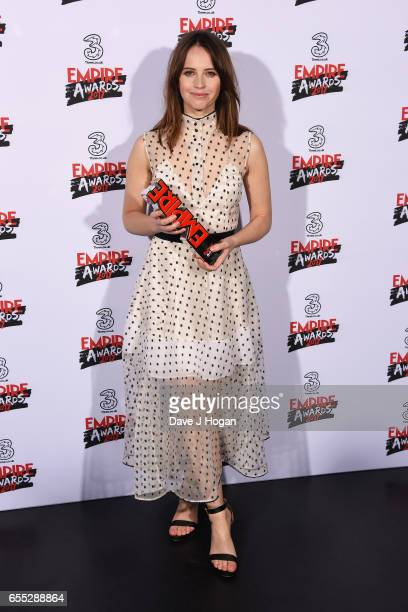Felicity Jones poses with the award for Best Actress for Rogue One A Star Wars Story in the winners room at the THREE Empire awards at The Roundhouse...