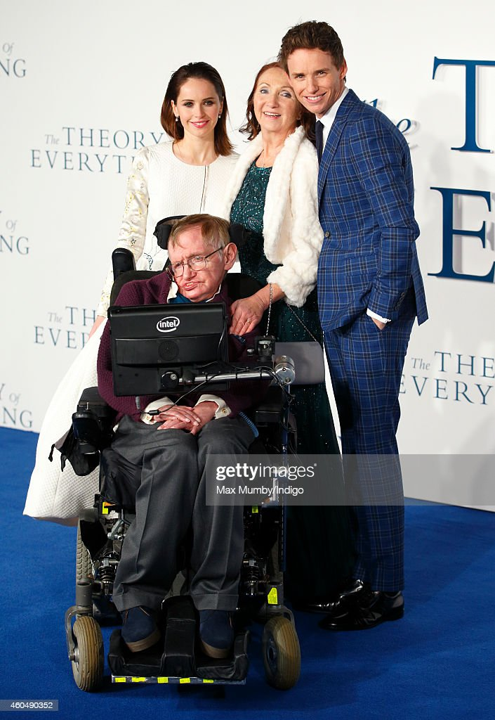 <a gi-track='captionPersonalityLinkClicked' href=/galleries/search?phrase=Felicity+Jones&family=editorial&specificpeople=5128418 ng-click='$event.stopPropagation()'>Felicity Jones</a>, Professor <a gi-track='captionPersonalityLinkClicked' href=/galleries/search?phrase=Stephen+Hawking&family=editorial&specificpeople=215281 ng-click='$event.stopPropagation()'>Stephen Hawking</a>, <a gi-track='captionPersonalityLinkClicked' href=/galleries/search?phrase=Jane+Hawking&family=editorial&specificpeople=4205631 ng-click='$event.stopPropagation()'>Jane Hawking</a> and <a gi-track='captionPersonalityLinkClicked' href=/galleries/search?phrase=Eddie+Redmayne&family=editorial&specificpeople=2554844 ng-click='$event.stopPropagation()'>Eddie Redmayne</a> attend the UK Premiere of 'The Theory Of Everything' at Odeon Leicester Square on December 9, 2014 in London, England.
