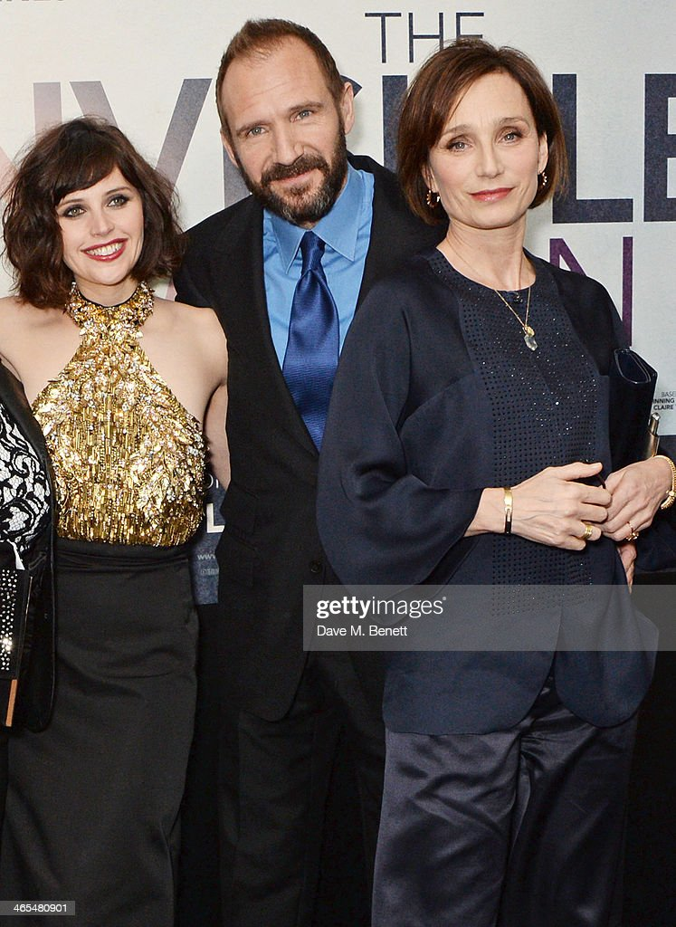 Felicity Jones, Ralph Fiennes and Kristin Scott Thomas attend the UK Premiere of 'The Invisible Woman' at the ODEON Kensington on January 27, 2014 in London, England.