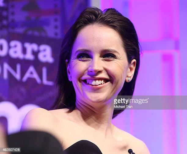 Felicity Jones speaks onstage during the 30th Santa Barbara International Film Festival Cinema Vanguard held at Arlington Theatre on January 29 2015...