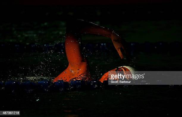 Felicity Passon of the Seychelles warms up before her Women's 100m Butterfly Final at the Aquatic Centre of the Tuanaimato Sports Facility on day...