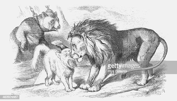 'Feline Friends or The British Lion and the Persian Chat' 1873 The Russian Bear is shackled in the background as the Persian Pussycat cuddles up to...