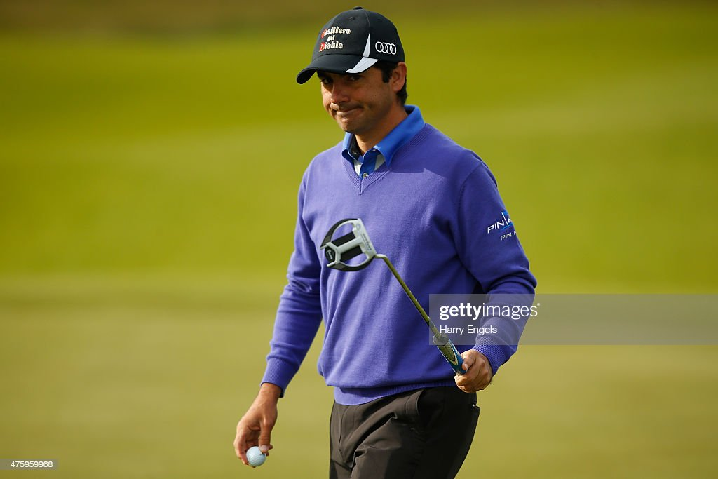 <a gi-track='captionPersonalityLinkClicked' href=/galleries/search?phrase=Felipe+Aguilar&family=editorial&specificpeople=562693 ng-click='$event.stopPropagation()'>Felipe Aguilar</a> of Chile acknowledges the crowd after putting on the tenth hole on day two of the Nordea Masters at the PGA Sweden National on June 5, 2015 in Malmo, Sweden.
