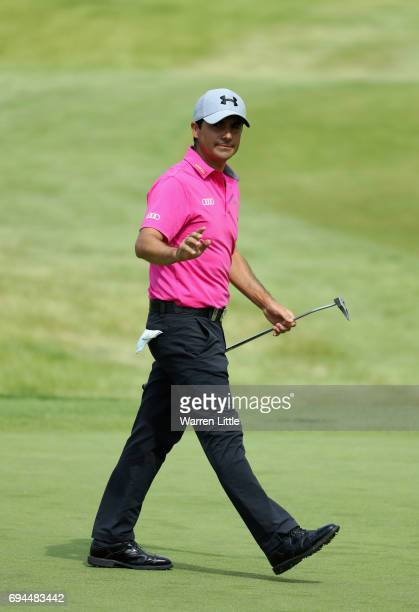 Felipe Aguilar of Chile acknowledges the crowd on the 18th green during the third roud of the Lyoness Open at Diamond Country Club on June 10 2017 in...