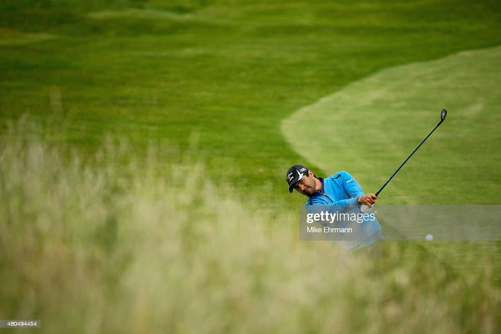 Felipe Aguilar of Chile hits an approach shot on the first hole during the final round of the Aberdeen Asset Management Scottish Open at Gullane Golf Club on July 12, 2015 in Gullane, East Lothian, Scotland.