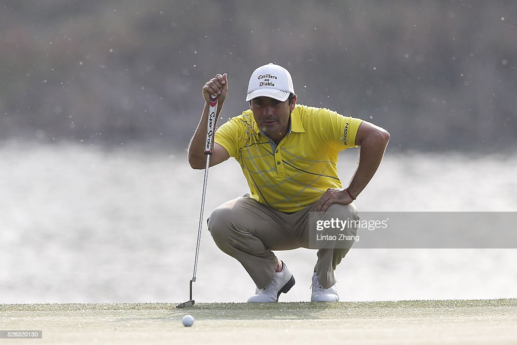 <a gi-track='captionPersonalityLinkClicked' href=/galleries/search?phrase=Felipe+Aguilar&family=editorial&specificpeople=562693 ng-click='$event.stopPropagation()'>Felipe Aguilar</a> of Chile lines up a putt during the third round of the Volvo China open at Topwin Golf and Country Club on April 30, 2016 in Beijing, China.