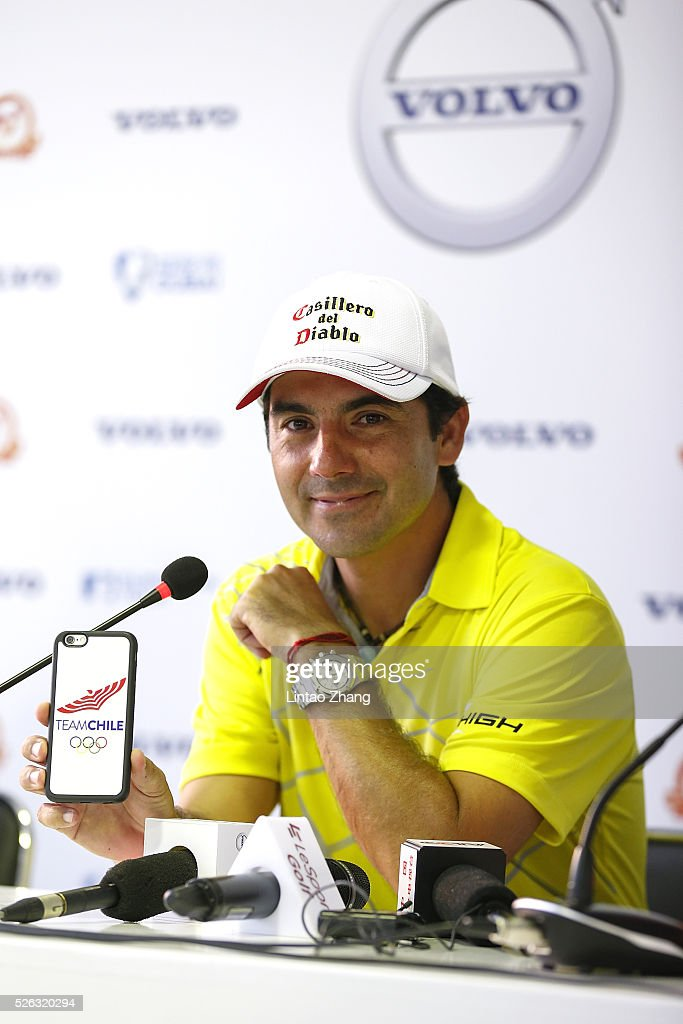 <a gi-track='captionPersonalityLinkClicked' href=/galleries/search?phrase=Felipe+Aguilar&family=editorial&specificpeople=562693 ng-click='$event.stopPropagation()'>Felipe Aguilar</a> of Chile looks on during a press conference after the third round of the Volvo China open at Topwin Golf and Country Club on April 30, 2016 in Beijing, China.