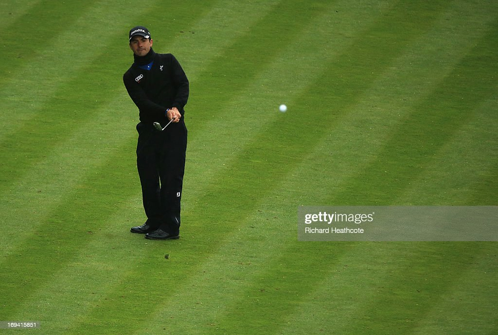 <a gi-track='captionPersonalityLinkClicked' href=/galleries/search?phrase=Felipe+Aguilar&family=editorial&specificpeople=562693 ng-click='$event.stopPropagation()'>Felipe Aguilar</a> of Chile pitches to the 18th green during the second round of the BMW PGA Championship on the West Course at Wentworth on May 24, 2013 in Virginia Water, England.