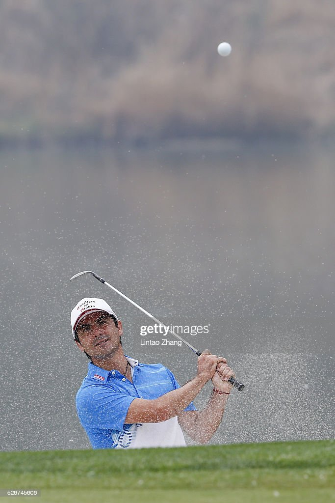 Felipe Aguilar of Chile plays a shot during the final round of the Volvo China open at Topwin Golf and Country Club on May 1, 2016 in Beijing, China.