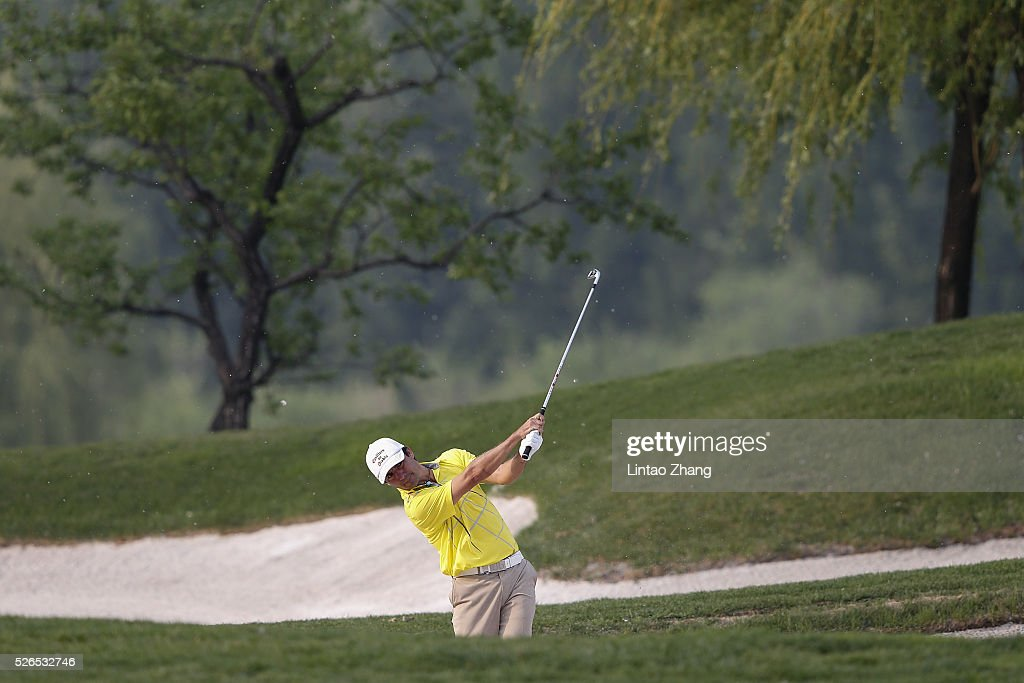 Felipe Aguilar of Chile plays a shot during the third round of the Volvo China open at Topwin Golf and Country Club on April 30, 2016 in Beijing, China.