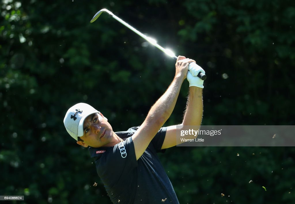 Felipe Aguilar of Chile plays his second shot into the third green during the second round of the Lyoness Open at Diamond Country Club on June 9, 2017 in Atzenbrugg, Austria.