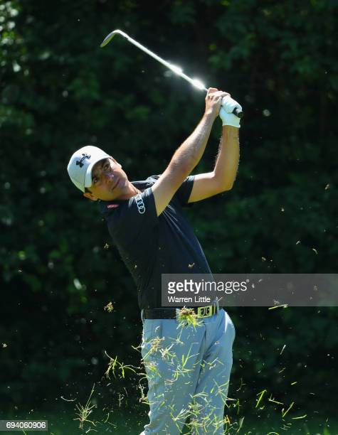 Felipe Aguilar of Chile plays his second shot on the 8th hole during day two of the Lyoness Open at Diamond Country Club on June 9 2017 in Atzenbrugg...