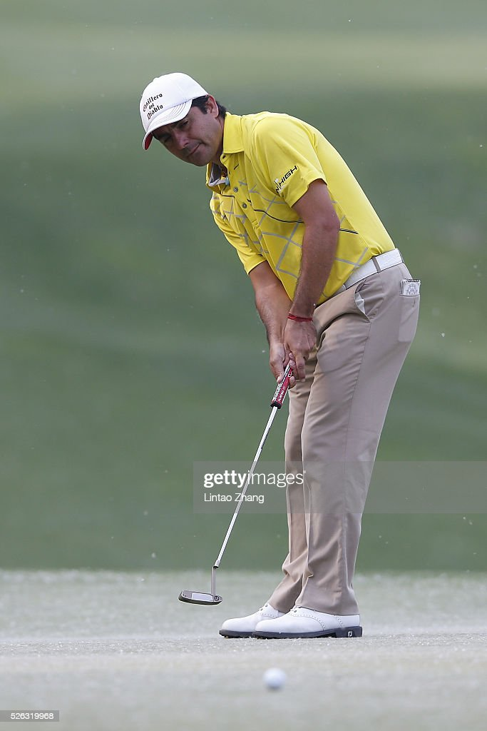 <a gi-track='captionPersonalityLinkClicked' href=/galleries/search?phrase=Felipe+Aguilar&family=editorial&specificpeople=562693 ng-click='$event.stopPropagation()'>Felipe Aguilar</a> of Chile reacts after the plays a shot during the third round of the Volvo China open at Topwin Golf and Country Club on April 30, 2016 in Beijing, China.