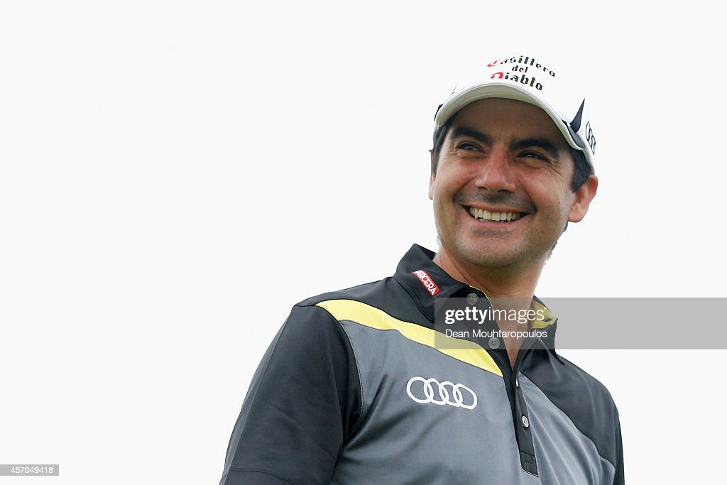 <a gi-track='captionPersonalityLinkClicked' href=/galleries/search?phrase=Felipe+Aguilar&family=editorial&specificpeople=562693 ng-click='$event.stopPropagation()'>Felipe Aguilar</a> of Chile smiles after he hits his tee shot on the 1st hole during Day 3 of the Portugal Masters held at the Oceanico Victoria Golf Course on October 11, 2014 in Albufeira, Portugal.