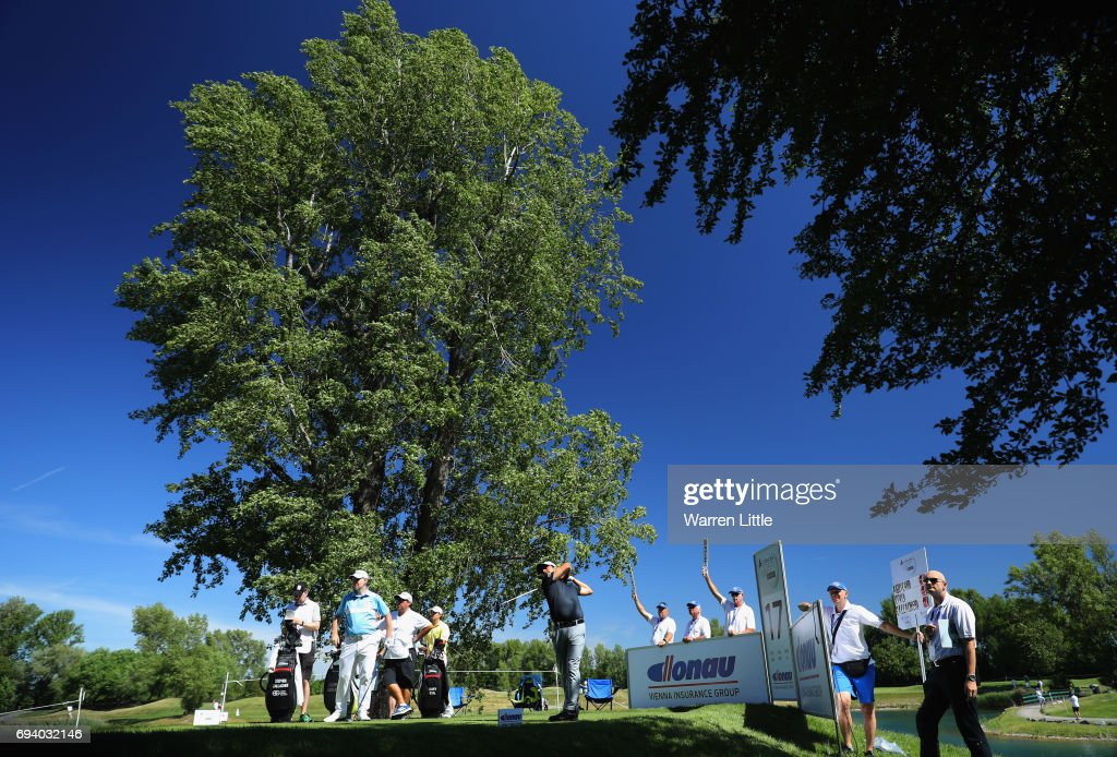 Felipe Aguilar of Chile tees off on the 17th hole during day two of the Lyoness Open at Diamond Country Club on June 9, 2017 in Atzenbrugg, Austria.