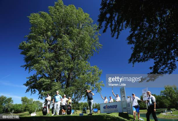Felipe Aguilar of Chile tees off on the 17th hole during day two of the Lyoness Open at Diamond Country Club on June 9 2017 in Atzenbrugg Austria