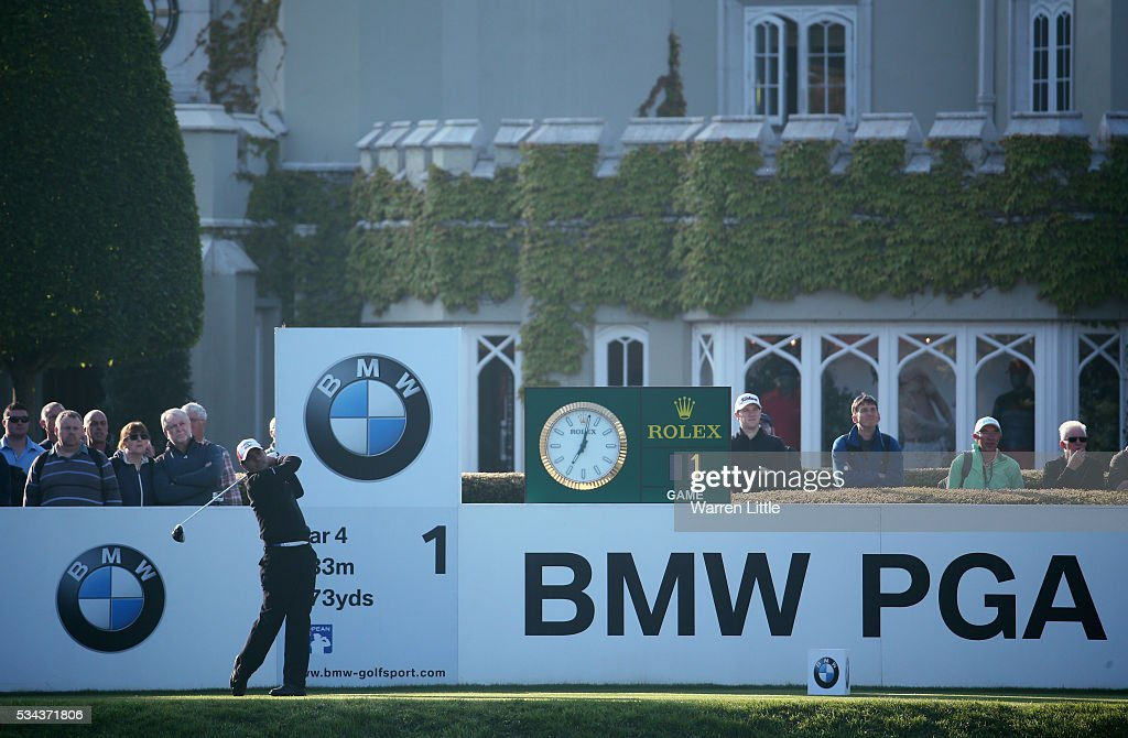 Felipe Aguilar of Chile tees off on the 1st hole during day one of the BMW PGA Championship at Wentworth on May 26, 2016 in Virginia Water, England.