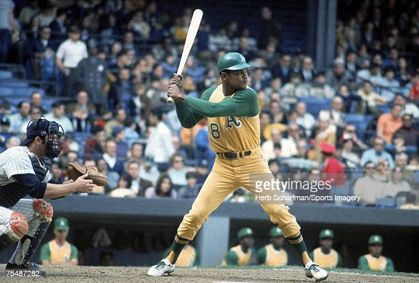 Felipe Alou of the Oakland Athletics batting in a MLB gme against the New York Yankees at Yankee Stadium on April 25 1970 in the Bronx New York