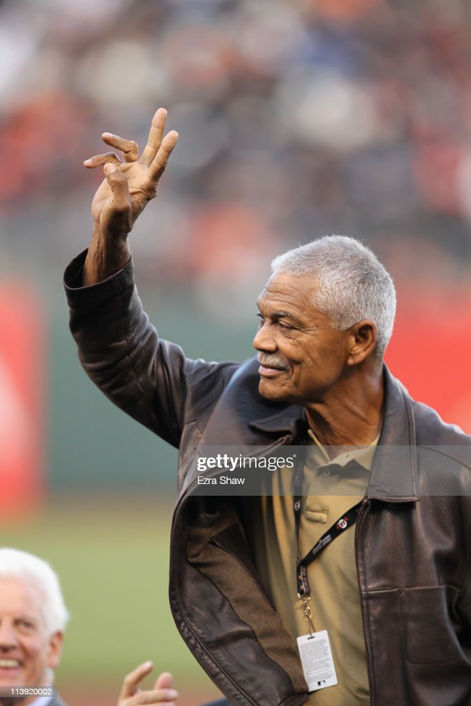 <a gi-track='captionPersonalityLinkClicked' href=/galleries/search?phrase=Felipe+Alou&family=editorial&specificpeople=93385 ng-click='$event.stopPropagation()'>Felipe Alou</a> waves to the crowd during a ceremony for Willie Mays' 80 birthday before the San Francisco Giants game against the Colorado Rockies at AT&T Park on May 6, 2011 in San Francisco, California.