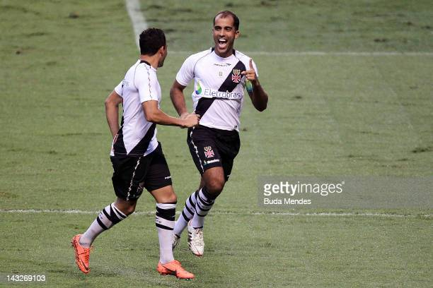 Felipe and Eder Luis of Vasco da Gama celebrate a scored goal during a match between Flamengo v Vasco da Gama as part of Semifinal Rio de Janeiro...