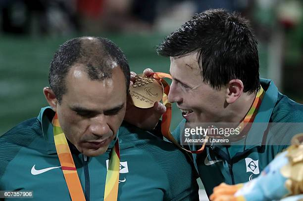Felipe and Ricardinho of Brazil celebrate on the podium at the medal ceremony for the Football 5aside Men's Gold Medal Match Brazil and Iran at...